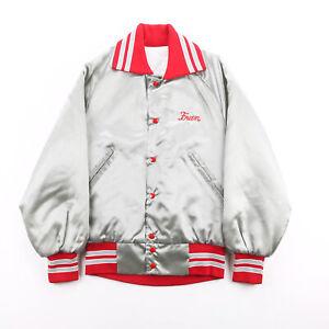 Vintage J & L SPORTS Letterman Grey 90s Nylon Casual Varsity Jacket Womens S