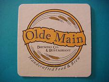 BEER Bar Coaster ~ OLDE MAIN Brewing Co & Restaurant ~ Ames, IOWA Craft Brewery