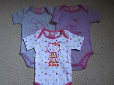 "BN - 3 X "" HELLO KITTY"" BODYSUITS - 9M"