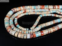 Natural Colorful Serpentine Gemstone Heishi Spacer Beads 16'' 4mm x 8mm 10mm