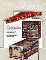 FIREPOWER II By Williams 1983 ORIGINAL NOS Pinball Machine SALES FLYER No Stamps