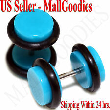 2045 Turquoise Blue Fake Cheater Illusion Faux Ear Plugs 16G Bar 0G = 8mm - 2pcs