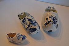 Vintage Miniature Dutch Holland Shoe Porcelain Delfts Windmill Ashtray Lot