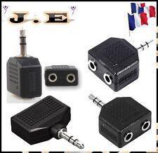 ADAPTATEUR DOUBLEUR JACK 3,5MM MALE / 2 X JACK 3,5 MM FEMELLE  DOUBLE MP3 PC MP4
