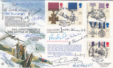 50th Anniv Battle of Britain Full set of  Gallantry  Stamps Signed15, 6 VC,3GC,