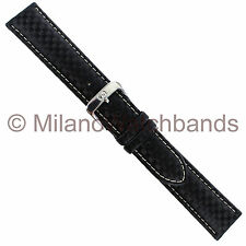18mm Di Modell Black Carbon Pattern On Calfskin Padded Stitched Watch Band