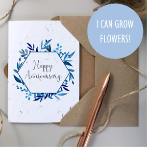 Happy Anniversary Card / Plantable SEEDED card / Rustic Wildflower greeting gift