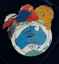 RARE Ltd Ed. SYDNEY 2000 OLYMPIC SYD OLLY & MILLIE on MAP of AUSTRALIA PIN #3270