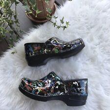 Dansko Patent Leather Floral Professional Nursing Clog Shoes Womens Size 9 - 10