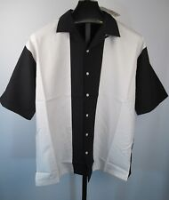 Time Out Bowling Shirt  Mens  L Button Down Black & White Rockabilly Retro NEW