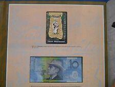 "1995 WALTZING MATILDA PORTFOLIO - PHONECARD & $10 BANKNOTE "" Rare BLUE NUMBERS """