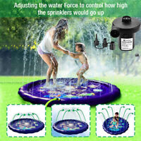 "68"" Splash Pad Sprinkler Kids Wading Pool Inflatable Water Toy Electric Air Pump"