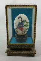 VINTAGE Hand Painted Asian Girl with Fan on Hollow Egg In Display Case - CHINA
