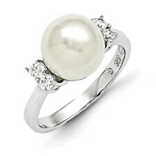Majestik 925 Sterling Silver 10-11mm White Shell Pearl & CZ Fancy Ring Size 7