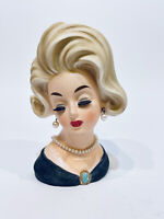 Vintage Lady Head Vase Napcoware C6985 Black Dress Green Gold Brooch Blonde Hair