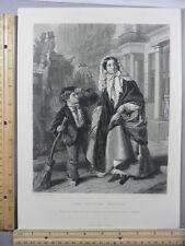 Rare Antique Original VTG Crossing Sweeper Boy With Broom Engraving Art Print