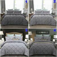 Grey Pintuck Diamond Quilt Duvet Doona Cover Set Queen/King Size Bed Bedding