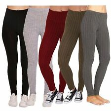New Ladies Leggings Ribbed Cable Thick Chunky Knitted Warm Plain Full Legging