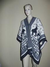 SEE BY CHLOE Reindeer Heart Knit Motif Gray Cream Holiday Wool Cape 4 *Oversized