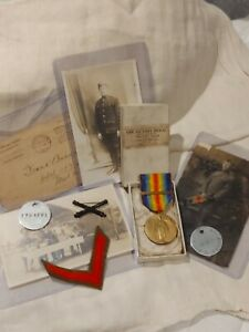 ➡➡US WW1 Vet Set: Boxed Victory Medal with Clasp, Dog tags, photos, 1A draft WWI