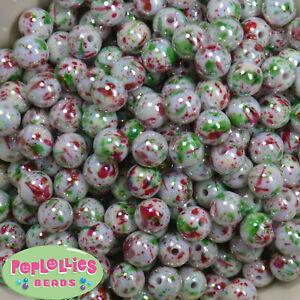 12mm Christmas Splatter Acrylic Bubblegum Beads Lot 40 pc.chunky gumball