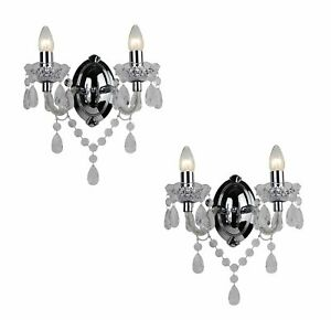 SET OF 2 - MARIE THERESE 2 LIGHTS Clear & CHROME WALL BRACKET CHANDELIER LIGHTS