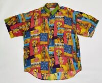 Vintage City Streets Silk Club Shirt Abstract Design LARGE Short Sleeve Washable
