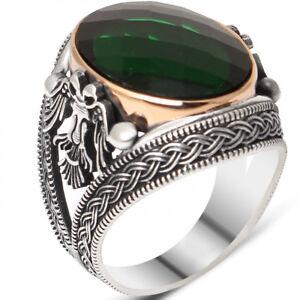 Solid 925 Sterling Silver Green Zircon Knitting Pattern Double Eagle Men's Ring