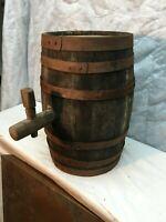 VINTAGE ANTIQUE 17 Tall x 11in diameter  WOOD BEER WHISKEY KEG BARREL