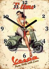 Publicité, Vintage, Scooter VESPA en Horloge murale -01hm