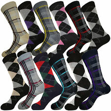 12 PK MENS DRESS SOCKS MULTICOLOR PATTERN SIZE 10-13 COTTON SOCKS FIRST QUALITY