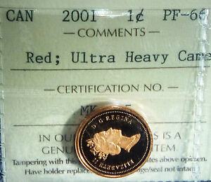RED, ULTRA HEAVY CAMEO.2001 ICCS PF- 66 ,ONE  Cent Canada (certificate #324)