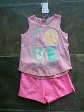 BNWT Girl's Pink Summer Cotton Knit Pyjamas Size 2