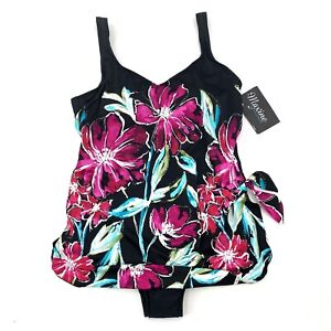 Maxine of Hollywood Womens Size 20W Black Pink Floral One Piece Swimsuit