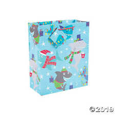 Shark Christmas Gift Bags Kids Gift Packaging 7x9 Christmas Shark Paper Bags 2pc