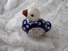 Boleslaweic Polish Pottery Peacock Design Duck Figurine