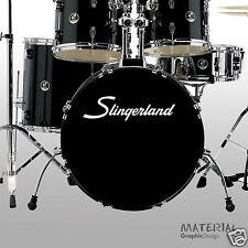 2x Slingerland Logo Sticker Decal -Bass Drum Head Skin Drums kit Percussion Wall