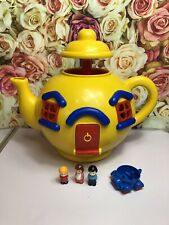 Vintage Big Yellow Teapot 1981 Bluebird with Figures