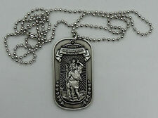 with a Bronze Alloy Pendant Saint Christopher-Dog Tag Style Necklace