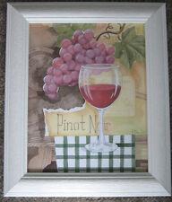 CUSTOM FRAMED WINE ART PRINT BY PAUL BRENT,PINOT NOIR,  WHITE DRIFTWOOD FRAME