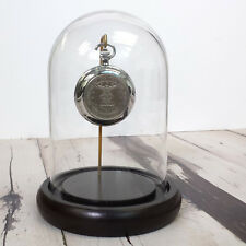 "Dome 7"" x 4.5"" Clear Glass Display Cloche Espresso Base Pocket Watch Metals"