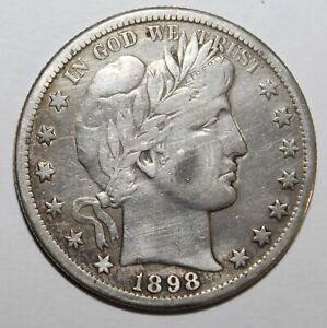 1898-S Barber Half Dollar, 90% Silver, 10% Copper
