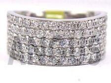 Real 14K White gold 1.99 ct Diamond Round Anniversary Band Engagement Ring