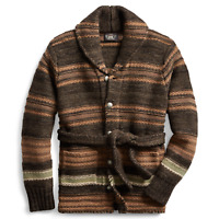 RRL Ralph Lauren Wool Belted Blanket Ranch Long Cardigan Men's All Sizes Wool