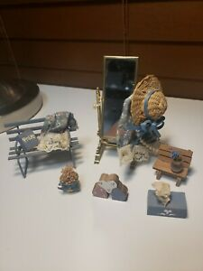 Doll House Miniature Mirror Bench & Accessories Country Style