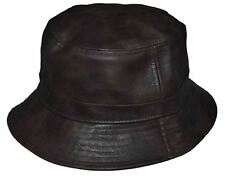 2ed89df1bab KB Men s Leather Feel Polyester Bucket Hat Choco Brown