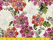Red Pink Yellow Flowers Victorian Off White Quilting Fabric by Yard  #1029