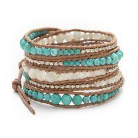 New Sundance Catalog Turquoise Stud Earrings & Leather Wrap Bead Bracelet