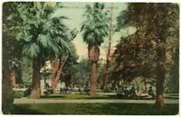 1900's 1910's Central Park People Bench Walk Los Angeles California CA Postcard