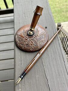 Wahl Desk Set Fountain Pen, Leather Base, Brown Ripple Hard Rubber,14k Nib, Nice